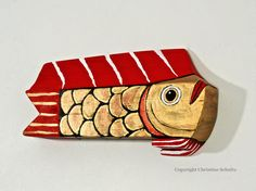 Reclaimed Wood Fish Art Painted Red and Gold by TaylorArts on Etsy