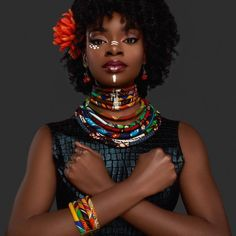 Sunkissed Ankara Necklace - African Jewelry - Sunkissed Marula Kente Choker & Bib Necklace Jewelry and never break. African Tribal Makeup, Tribal Face, African Beauty, African Women, African Fashion, African Necklace, African Jewelry, Black Women Art, Beautiful Black Women