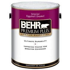 Mid-Priced Paint: Behr Premium Plus Interior Paint Behr Premium Plus paint resists stains and UV rays. It had great coverage area but only fair coverage quality. It is low VOC and resists the growth of mildew, so it's suitable for kitchens and bathrooms, and other spaces that may be damp — like a basement. Behr products are sold exclusively at The Home Depot.
