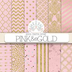 Pink Digital Paper  Pink and Gold with pink by royaldigitalstore