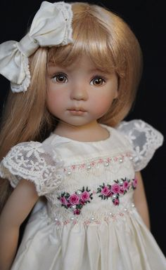 Smocked Silk Embroidered Ensemble for Effner 13 034 Little Darling Dolls   eBay