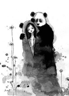 Panda et femme à l'encre de chine par June Leeloo - http://www.dessein-de-dessin.com/panda-et-femme-a-lencre-de-chine-par-june-leeloo/