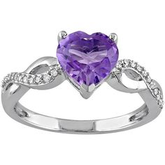 Laura Ashley 10k White Gold Amethyst & 9/10 Carat T.W. Diamond... ($621) ❤ liked on Polyvore featuring jewelry, rings, purple, amethyst diamond ring, infinity heart ring, white gold amethyst ring, diamond enhancer ring and white gold rings