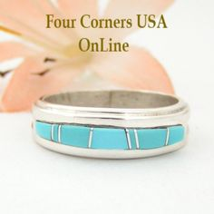 Four Corners USA Online - Size 7 Turquoise Inlay Band Ring Navajo Wilbert Muskett Jr WB-1549 Closeout Final Sale, $95.00 (http://stores.fourcornersusaonline.com/size-7-turquoise-inlay-band-ring-navajo-wilbert-muskett-jr-wb-1549-closeout-final-sale/)