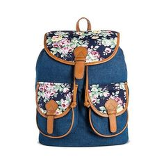 Bueno Women's Canvas Backpack Handbag with Floral ($30) ❤ liked on Polyvore featuring bags, backpacks, dk denim, blue drawstring backpack, blue floral backpack, floral print backpack, canvas rucksack and flap backpack