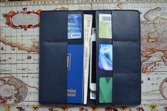 Leather travel wallet, Personalized leather wallet, Passport holder, Travel wallet organizer, Gifts for traveller, Document holder