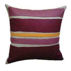 Yellow & eggplant throw pillow