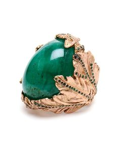 This Pintaldi Maurizio 18-carat rose gold leaf ring inlaid with a green emerald is sitting at the top of our statement jewellery wish list.