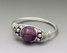 Charoite Bali Sterling Silver Wire Wrapped Ring ANY by KimsJewels