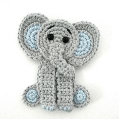 Crochet elephant applique You will find here an easy and free pattern to make this cute elephant appliqué. It is the perfect addition to a baby blanket for instance! Crochet Elephant Pattern, Crochet Applique Patterns Free, Crochet Horse, Elephant Applique, Crochet Unicorn, Crochet Motifs, Free Pattern, Crochet Appliques, Sewing Appliques