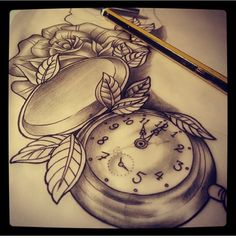 Pocket watch and rose thigh tattoo #inkedgirls