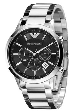 Yes, please. A stainless steel bracelet with a black faced chronograph -- extremely versatile, modern & classic. $345 via Nordstrom's