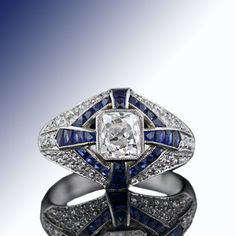 Art Deco Style 1.26 Carat Diamond Ring with Sapphires