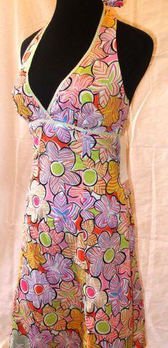 Molly New York Dress White Halter Designer Boutique Flower Print Pink 4 XS #Dress #Fashion #Deal