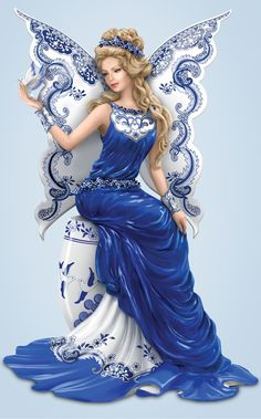 The endless romance of Blue Willow brings a magical blessing of two lovers to life with this gorgeous angel figurine.