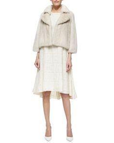 Co Bracelet-Sleeve Mink Fur Coat & Sleeveless Jewel-Neck Peplum Dress Fall 2015