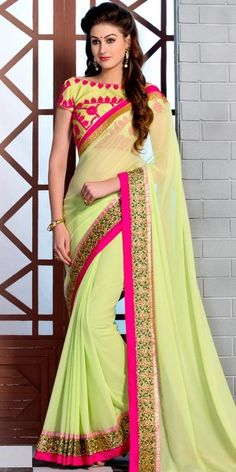 Vibrant Green And Multi-Color Georgette #Saree. @http://www.maalpani.com/latest-arrivals.html
