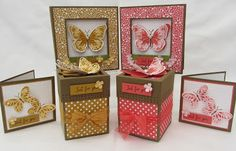 My lovely ladies wanted to make a Recessed window card for this weeks stamp class after seeing one of the swap cards from Madeira. Owl Card, Window Cards, Butterfly Watercolor, Mothers Day Cards, Hostess Gifts, Stampin Up Cards, Decorative Boxes, Card Making, Wings
