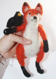 Needle Felted Fox and the Crow Dolls by lauraleeburch on Etsy, $40.00