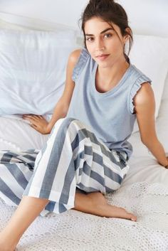 Stylish stripes makes stylish sleepwear! You can still look super cool even when asleep! Cute Sleepwear, Sleepwear Women, Jolie Lingerie, Sexy Lingerie, Night Suit For Women, Bride Dressing Gown, Pijamas Women, Cute Pajama Sets, Pajama Outfits