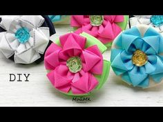 YouTube Fabric Flower Brooch, Fabric Hair Bows, Baby Hair Bows, Fabric Ribbon, Fabric Flowers, Diy Bow, Diy Ribbon, Ribbon Crafts, Ribbon Bows