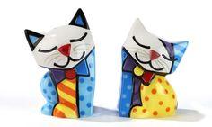 ROMERO BRITTO  CAT SALT AND PEPPER SHAKERS ** NEW **