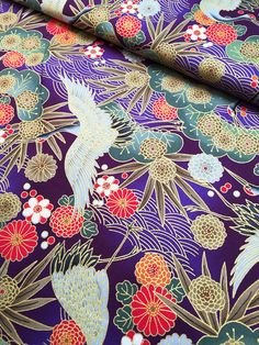 Golden Cranes in purple Japanese cotton fabric 1600-97D