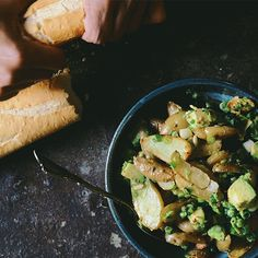 PGM In Season | A Brown Table | CORIANDER ROASTED FINGERLING POTATO SALAD WITH AVOCADO
