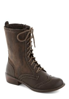 Weatherworn Report Boot in Molasses. The forecast is calling for mellow with a chance of posh in these hybrid-style calf-high boots! #brown #modcloth $69.99
