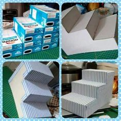 Utiliza cajas de leche para crear un bello exhibidor con forma de escalera que te servirá para lucir postres o bocadillos en un buffet o me. Craft Crea un exhibidor de postres usando cajas de leche Milk Box, Baby Shawer, Ideas Para Fiestas, Diy Cake, Deco Table, Dessert Table, Candy Buffet Tables, Dessert Bars, Buffet Set Up
