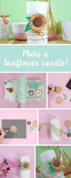 Bring summer into your home decor with this fabulously handmade sunflower candle decoration. In this Sizzix tutorial, we'll show you how you can easily make it using papercraft techniques. Feature with us using - Hobbies And Crafts, Crafts To Make, Diy Crafts, Kawaii Diy, Do It Yourself Crafts, Diy Wedding Decorations, Diy Candles, Handmade Home Decor, Summer Crafts