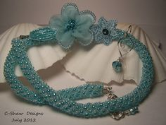 3 Bead Netting Necklace with handcrafted earrings