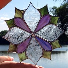 I just listed Abstract flower design sun catcher in stained glass on The…