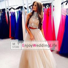 Wholesale Prom Dresses - Buy Two Pieces! New Sexy Champagne High Neck Tulle Prom Dresses 2015 Rhinestones Beaded Top Floor Length Evening Gowns, $146.6   DHgate
