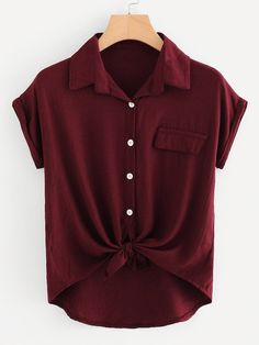 Casual Pocket and Button and Knot Plain Top Regular Fit Collar Short Sleeve Roll Up Sleeve Burgundy Rolled Cuff Knotted Hem Shirt Teen Fashion Outfits, Casual Outfits, Plus Size Kleidung, Summer Blouses, Roll Up Sleeves, Plus Size Blouses, Types Of Sleeves, Plus Size Outfits, How To Wear