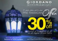 Ramadan Kareem Enjoy amazing offer off at all GIORDANO stores.