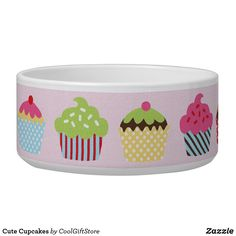 Cute Cupcakes Bowl Cute Cupcakes, Pet Bowls, Easter Crafts For Kids, Crochet Patterns For Beginners, Cute Food, Craft Stick Crafts, Keep It Cleaner, Cool Gifts, White Ceramics