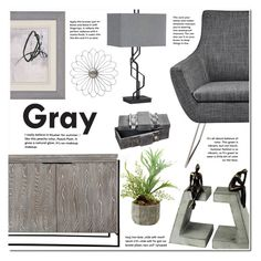 """Gray"" by ansev ❤ liked on Polyvore featuring interior, interiors, interior design, home, home decor, interior decorating, Kathy Ireland, Home, decor and lampsplus"