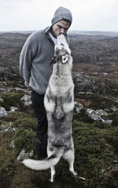 Not sure if I'm pinning this for the cute husky or the hot guy! ;)