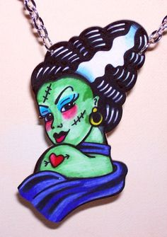 sexy bride of frankenstein halloween horror necklace