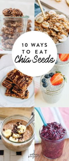 10 Ways to Eat Chia Seeds - Add chia seeds to your diet with these chia seed recipes. // chia recipes // chia seeds // chia seed recipes # Food and Drink chia seeds 10 Ways to Eat Chia Seeds Good Healthy Recipes, Healthy Snacks For Kids, Vegan Recipes, Healthy Food, Healthy Eating, Healthy Lunches, Nutritious Meals, Healthy Brunch, Healthy Dinners