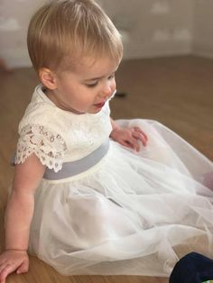 a533507b9 White Lace and Tulle Flower Girl Dress With Silk Sash available in over 35  colours by Matchimony. Trajes Para BodasVestidos ...