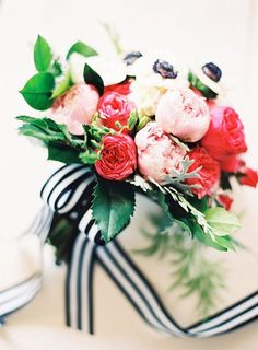 Blush and Pink Bouquet with Black and White Striped Ribbons | Jordan Brittley Photography | heyweddinglady.co...