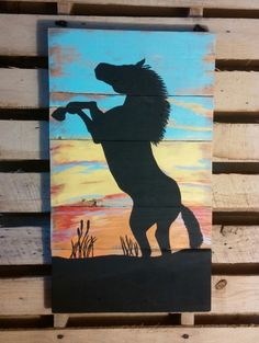 Hand Painted Sunrise Horse Sillouette by CurrysWoodCreations on Etsy https://www.etsy.com/listing/233180445/hand-painted-sunrise-horse-sillouette