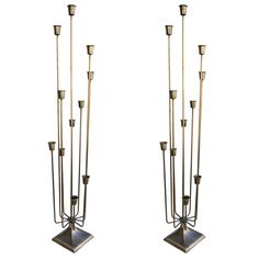 Pair of 1970s Brass Candleholders