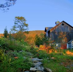 """Beside The Barn-Evening Glow-Catskill Mountains    Through the ample open door of the peaceful country barn,  A sun-lite pasture field, with cattle feeding; And haze, and vista, and far horizon fading away.    Walt Whitman - """"A Farm Picture"""""""