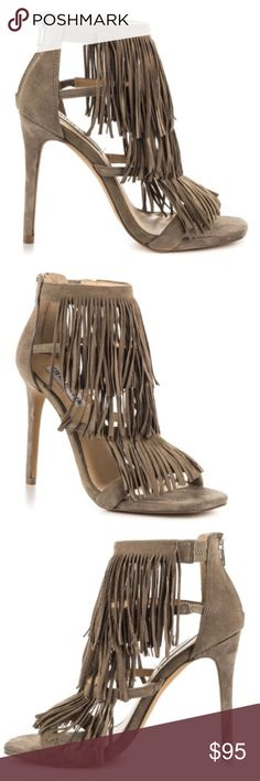 """BRAND NEW Steve Madden Suede Fringly Women's Shoes BRAND NEW. Feel fierce and feisty in the Fringly. This playful sandal by Steve Madden features a taupe suede upper with thick front vamp, multiple straps and single sole. Lively strands of fringe hang flirtatiously throughout the silhouette while a 5 inch heel adds a lift. Size 8.5 Heel, 4"""" Leather Suede upper Open toe Back zipper closure Synthetic lining Synthetic sol Steve Madden Shoes Heels"""