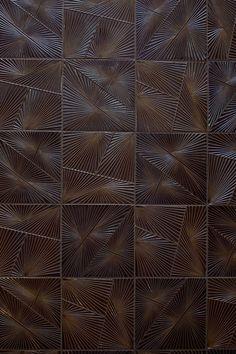 KELLY WEARSTLER X ANN SACKS. 'Tableau Horizon 1' textured ceramic tiles: