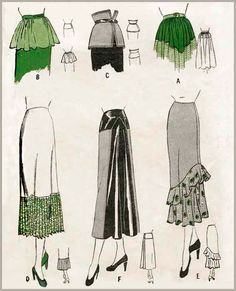 1940s 40s vintage skirt women's sewing pattern yokes flares and flounces waist 28 30 size medium reproduction