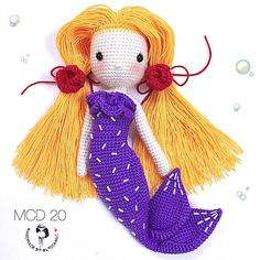 My Crochet Doll no.20(part 2) @ Mermaid for a little girl. Two roses  as requested by her.